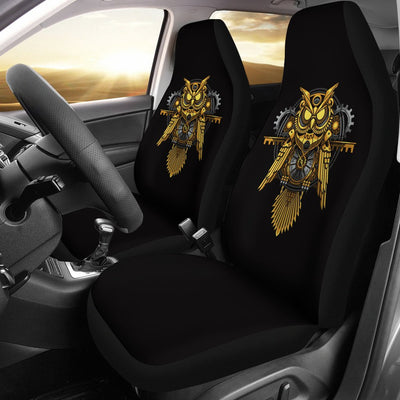 Steampunk Gold Owl Design Themed Print Universal Fit Car Seat Covers