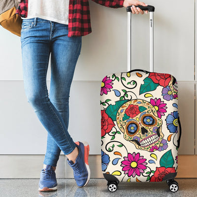 Sugar Skull Colorful Themed Print Luggage Cover Protector