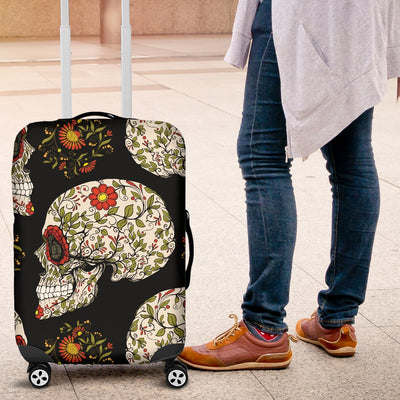 Sugar Skull Flower Design Themed Print Luggage Cover Protector