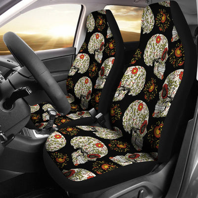 Sugar Skull Flower Design Themed Print Universal Fit Car Seat Covers