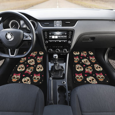 Sugar Skull Pink Bow Themed Print Car Floor Mats