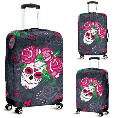 Sugar Skull Pink Rose Themed Print Luggage Cover Protector