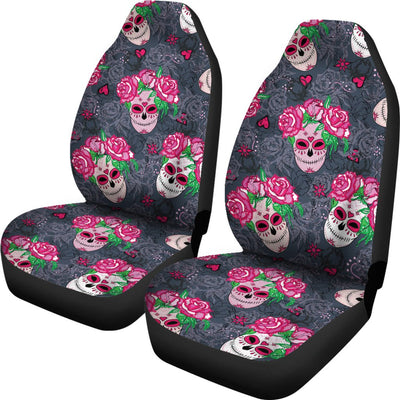 Sugar Skull Pink Rose Themed Print Universal Fit Car Seat Covers