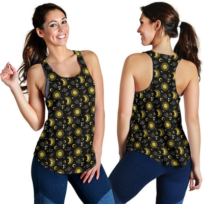 Sun Moon Golden Design Themed Print Women Racerback Tank Top