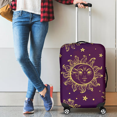Sun Moon Star Design Themed Print Luggage Cover Protector
