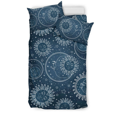 Sun Moon Tattoo Design Themed Print Duvet Cover Bedding Set