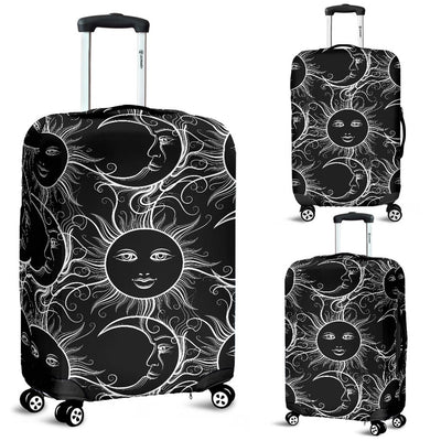 Sun Moon White Design Themed Print Luggage Cover Protector
