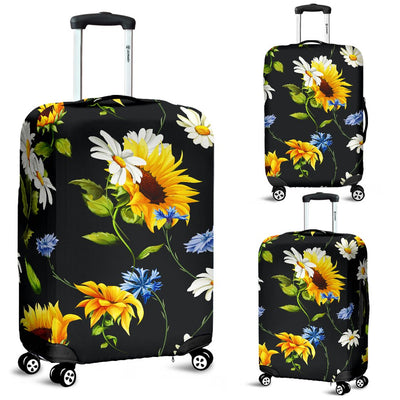 Sunflower Chamomile Bright Color Print Luggage Cover Protector