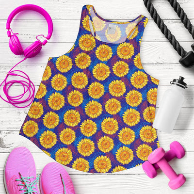 Sunflower Hand Drawn Style Print Women Racerback Tank Top