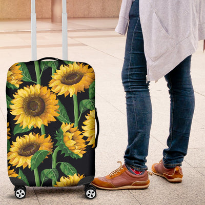 Sunflower Realistic Print Pattern Luggage Cover Protector