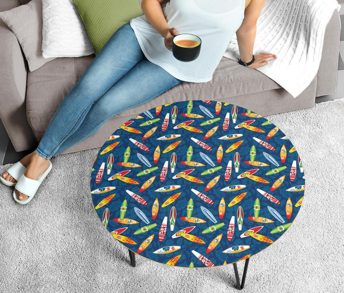 Surfboard Pattern Print Circle Coffee Table