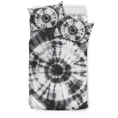 Tie Dye Black White Design Print Duvet Cover Bedding Set