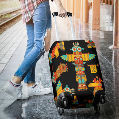 Totem Pole Cartoon Print Luggage Cover Protector