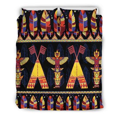 Totem Pole Design Duvet Cover Bedding Set