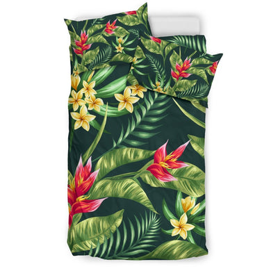 Tropical Flower Red Heliconia Print Duvet Cover Bedding Set
