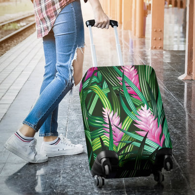 Tropical Folower Pink Heliconia Print Luggage Cover Protector