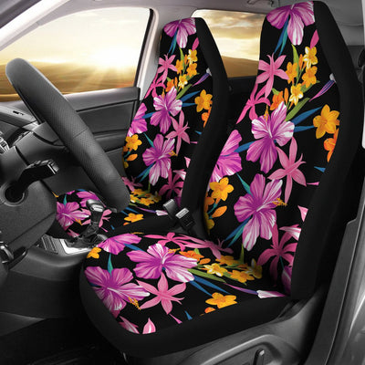 Tropical Folower Pink Hibiscus Print Universal Fit Car Seat Covers