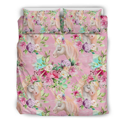 Unicorn Princess with Rose Duvet Cover Bedding Set