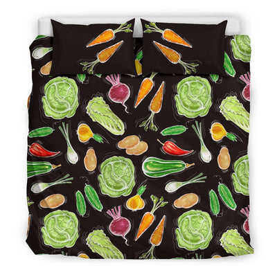 Vegan Draw Themed Design Print Duvet Cover Bedding Set