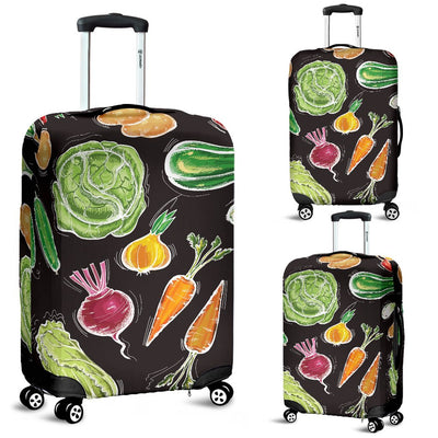 Vegan Draw Themed Design Print Luggage Cover Protector