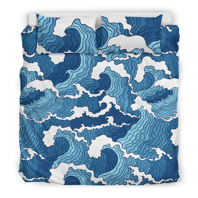Wave Themed Pattern Print Duvet Cover Bedding Set