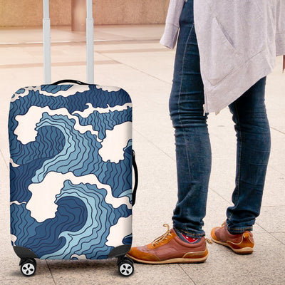 Wave Themed Pattern Print Luggage Cover Protector