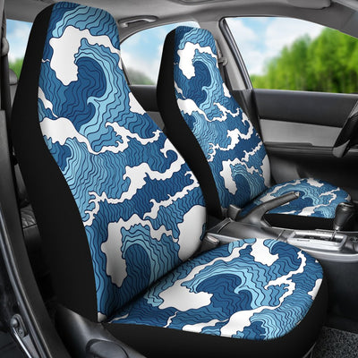 Wave Themed Pattern Print Universal Fit Car Seat Covers