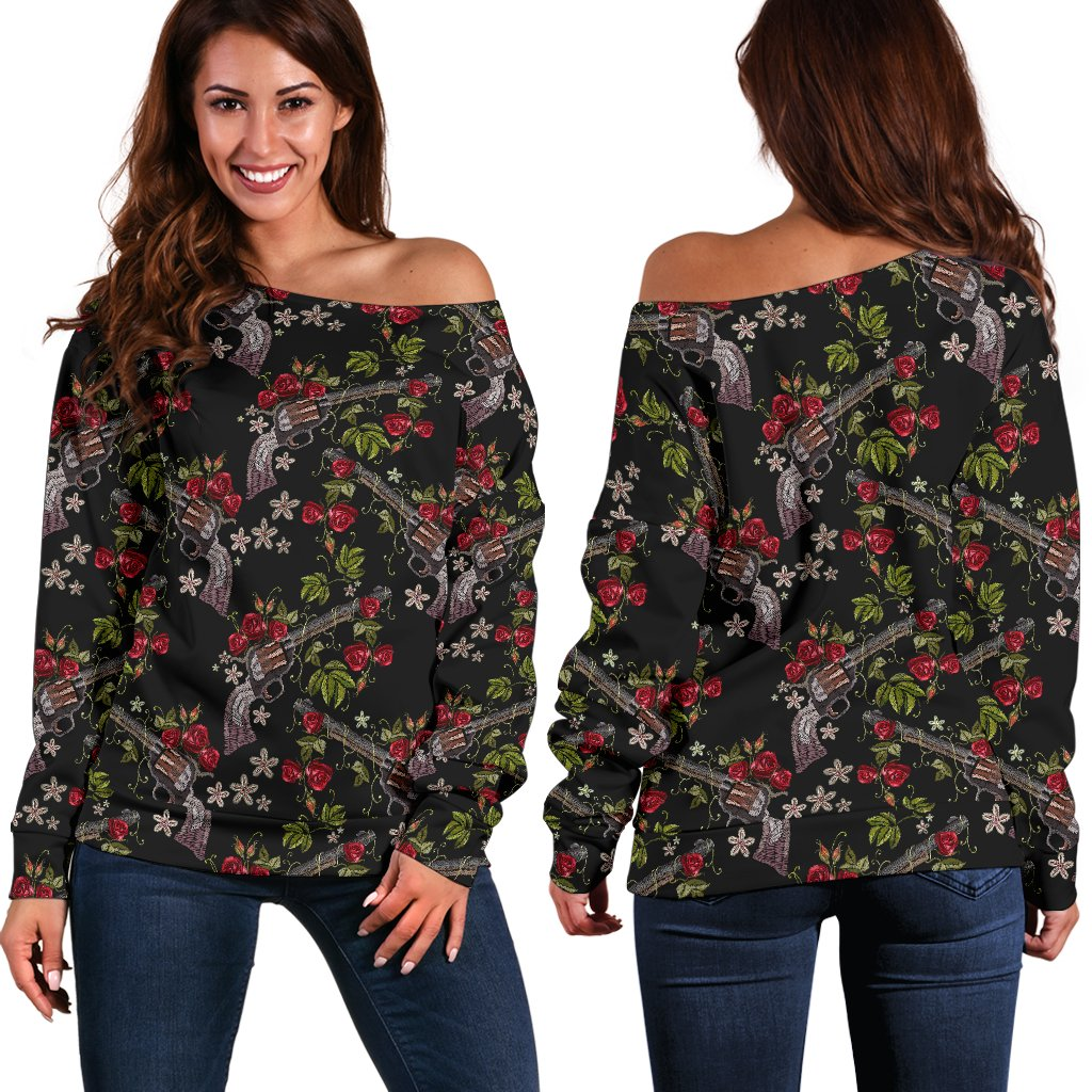 Western Design Off Shoulder Sweatshirt