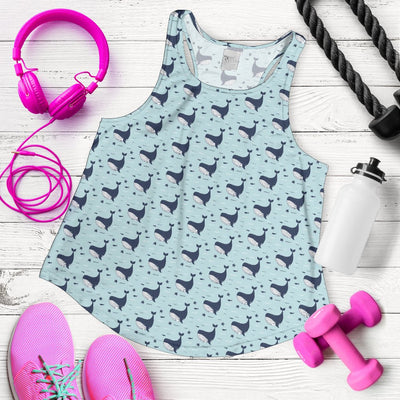Whale Cute Design Themed Print Women Racerback Tank Top