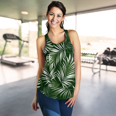White Green Tropical Palm Leaves Women Racerback Tank Top