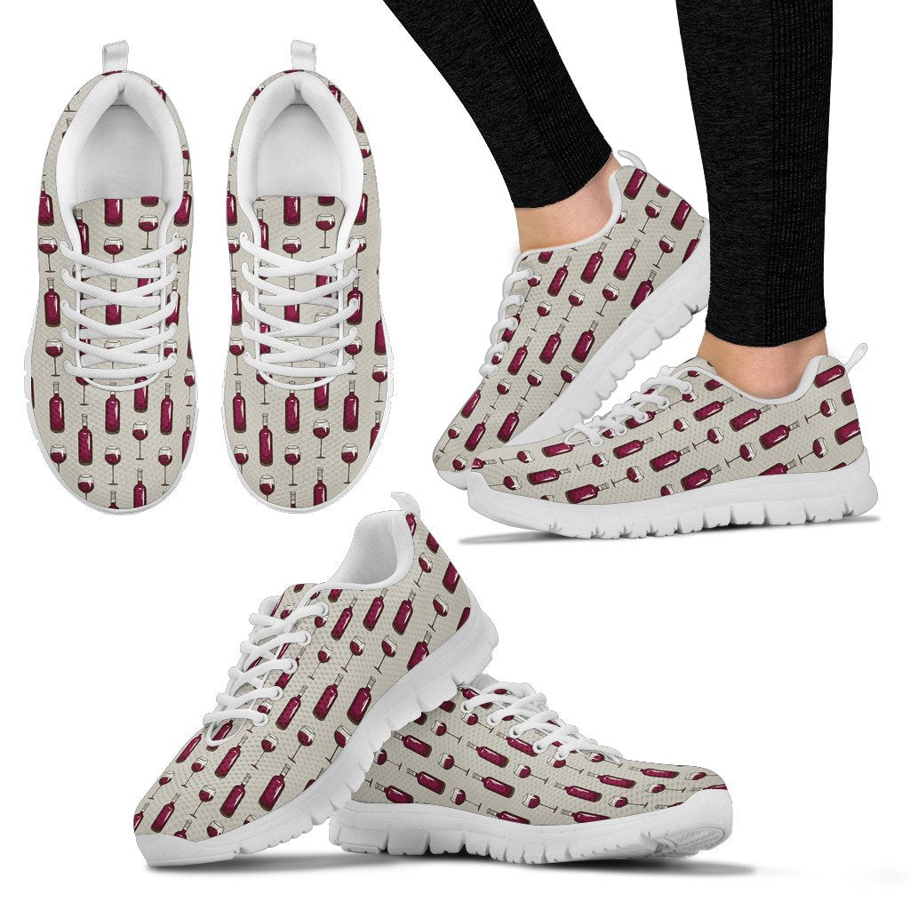 Wine Bottle Pattern Print Women Sneakers Shoes
