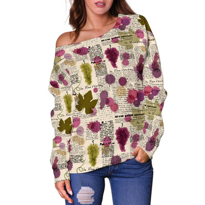 Wine Style Design Print Off Shoulder Sweatshirt