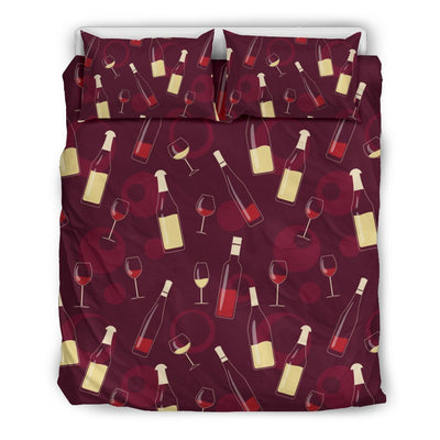 Wine Themed Pattern Print Duvet Cover Bedding Set