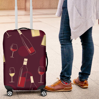 Wine Themed Pattern Print Luggage Cover Protector