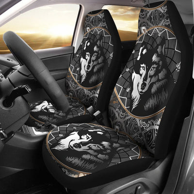 Wolf Black Dream Catcher Design Print Universal Fit Car Seat Covers