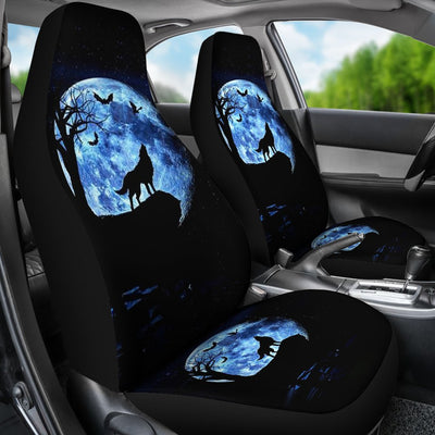Wolf Howling Moon Design No6 Print Universal Fit Car Seat Covers