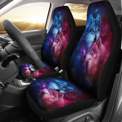 Wolf Spirit Blue Purple Design No6 Print Universal Fit Car Seat Covers