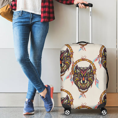 Wolf Tribal Dream Catcher Design Print Luggage Cover Protector