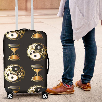 Yin Yang Skull Themed Design Print Luggage Cover Protector