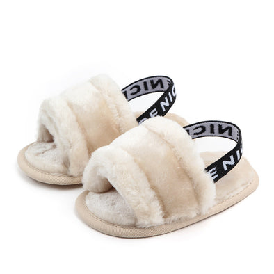 Cream Baby Fluffy Slip On Sandals