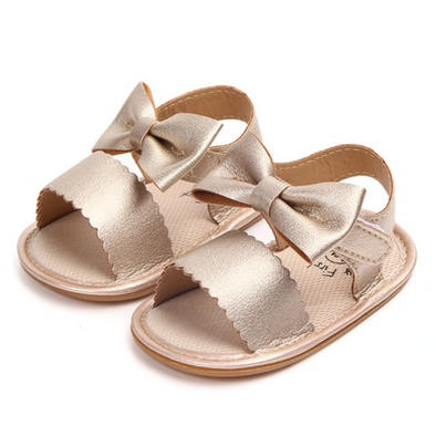 Savanna Gold Bow Sandals