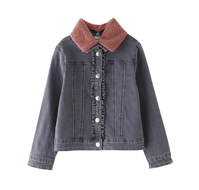 Kylee Black Denim Collared Jacket