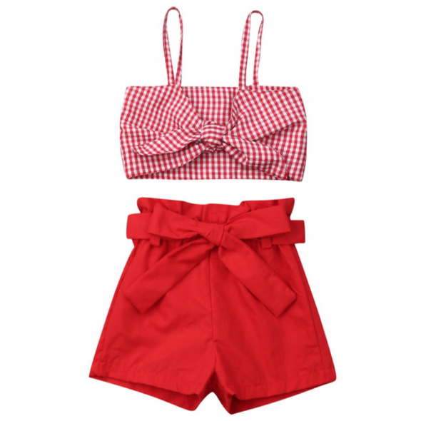 Lanzo Two piece Red Shorts Set