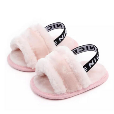 Pink Baby Fluffy Slip On Sandals