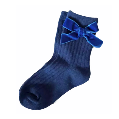 Blue Ribbed Velvet Bow Socks