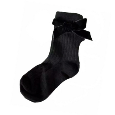 Black Ribbed Velvet Bow Socks