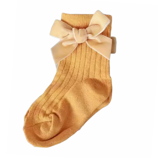 Yellow Ribbed Velvet Bow Socks