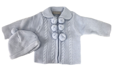 Lenny Baby Blue Knitted Pom Jacket Set