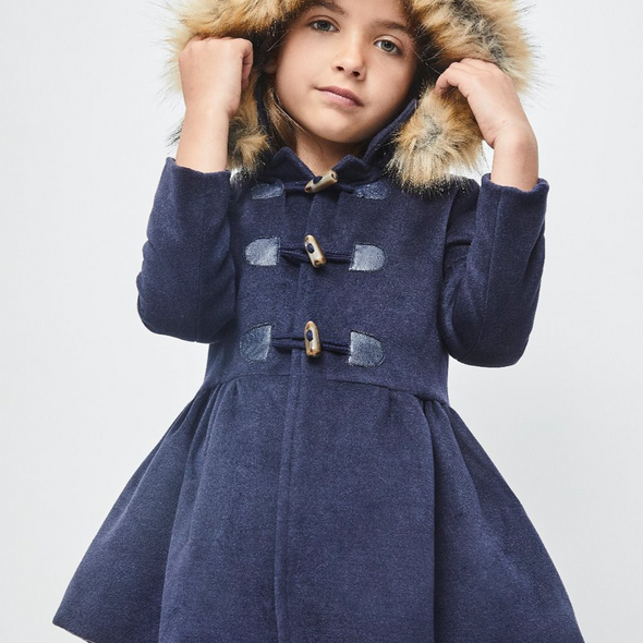 Navy Long Faux Fur Collar Coat