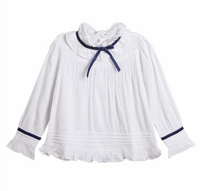 Samara Blue Trim Bow Blouse